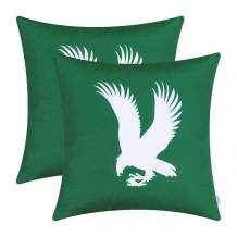 CaliTime Pack of 2 Poly Canvas Throw Pillow Covers Cases for Couch Sofa Home Decoration Vintage Eagle Shadow Silhouette Print 18 X 18 Inches Hunter Green