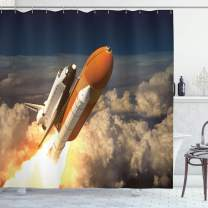 """Ambesonne Outer Space Shower Curtain, Space Shuttle in Clouds Scene Historical Liftoff Enterprise Success Picture, Cloth Fabric Bathroom Decor Set with Hooks, 75"""" Long, Mustard Grey"""