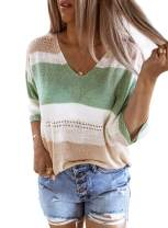 ZKESS Women's Casual Striped V Neck Knit Short Sleeve Tops Loose Blouse Plain Shirts
