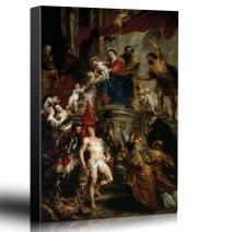 wall26 - Oil Painting of Madonna Enthroned with Child and Saints by Peter Paul Rubens - Baroque Style - Angels, Priest - Canvas Art Home Decor - 24x36 inches