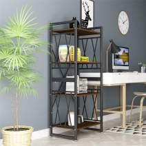 4-Shelf Bookshelf Industrial Bookshelf Ladder Bookshelf Storage Rack shelves Metal and Wood Bookcase 55'' Tall Bookshelf Furniture Free Standing Shelf for Bathroom Living Room Home Office Kitchen