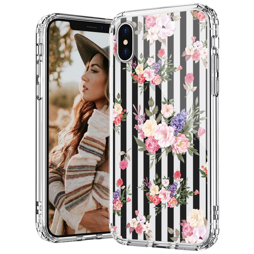 MOSNOVO iPhone Xs Case, iPhone X Case, Black Stripes Flowers Floral Pattern Printed Clear Design Transparent Plastic Hard Back Case with TPU Bumper Protective Case Cover for iPhone X iPhone Xs
