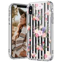 MOSNOVO iPhone Xs Max Case, Black Stripes Flowers Floral Pattern Printed Clear Design Transparent Plastic Hard Back Case with TPU Bumper Protective Case Cover for iPhone Xs Max