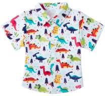 RAISEVERN Boys' Button Down Shirts Hawaiian Cartoon Print Slim-Fit Short Sleeve Cool Dress Shirt Cute Top for Kids(2-14T)
