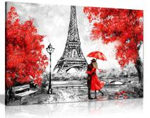 Paris Oil Painting Reproduction Eiffel Tower Red Umbrella Canvas Wall Art Picture Print (18x12)