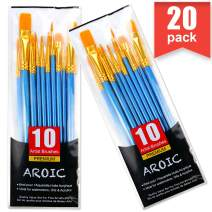 Acrylic Paint Brush Set, 2 Packs / 20 pcs Nylon Hair Brushes for All Purpose Oil Watercolor Painting Artist Professional Kits