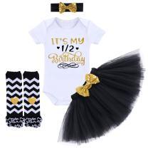 It's My 1st/2nd Birthday Outfit Baby Girl Romper Tutu Skirt Headband Leg Warmers 4pcs Set