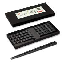 Chopsticks, Chopsticks Reusable, 5 Pairs Japanese Fiberglass Chopsticks Reusable Dishwasher Safe Chop Sticks Chopstick Set with Case, 9 Inches