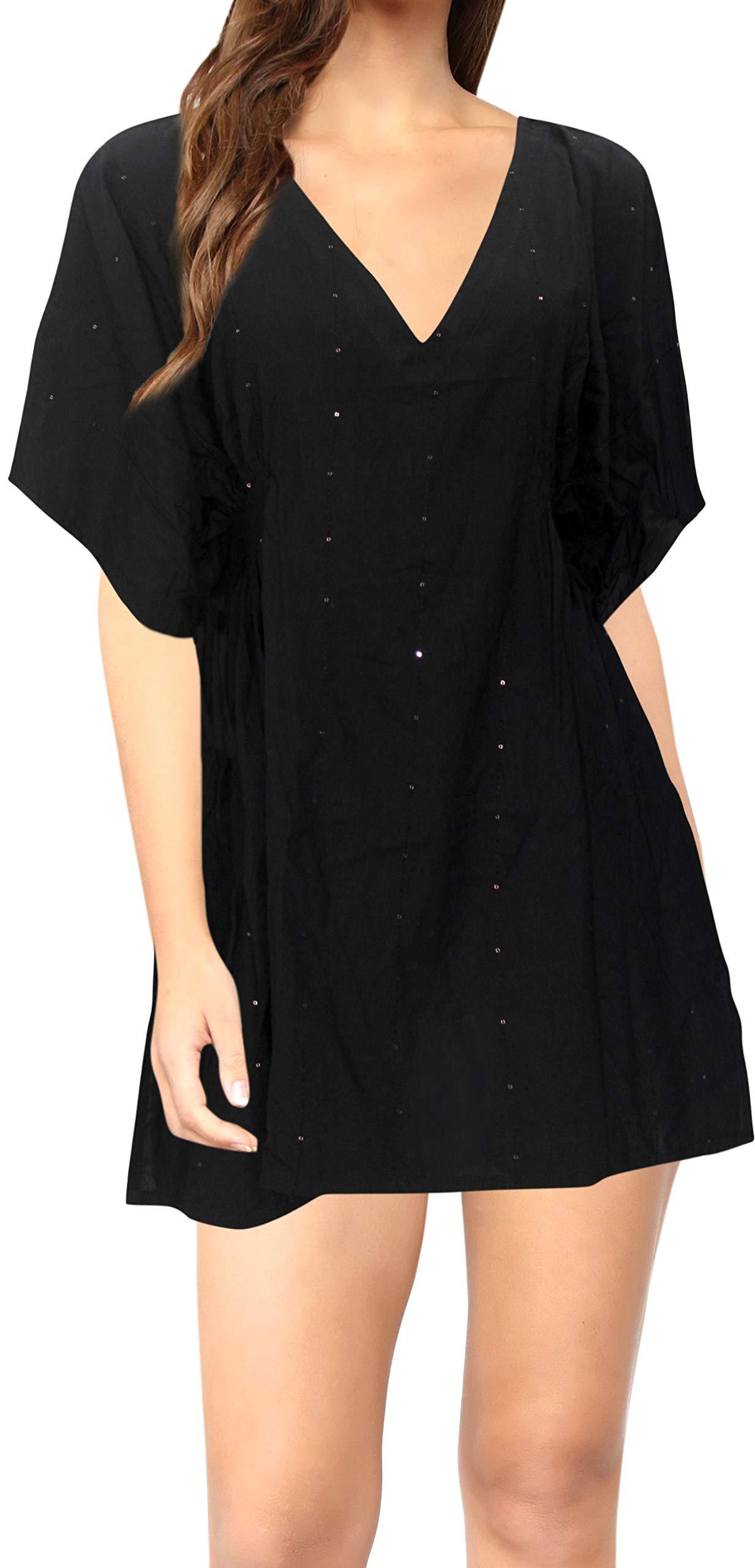 LA LEELA Women's Plus Size Beach Kaftan Dress Swimsuit Cover Ups Embroidery A