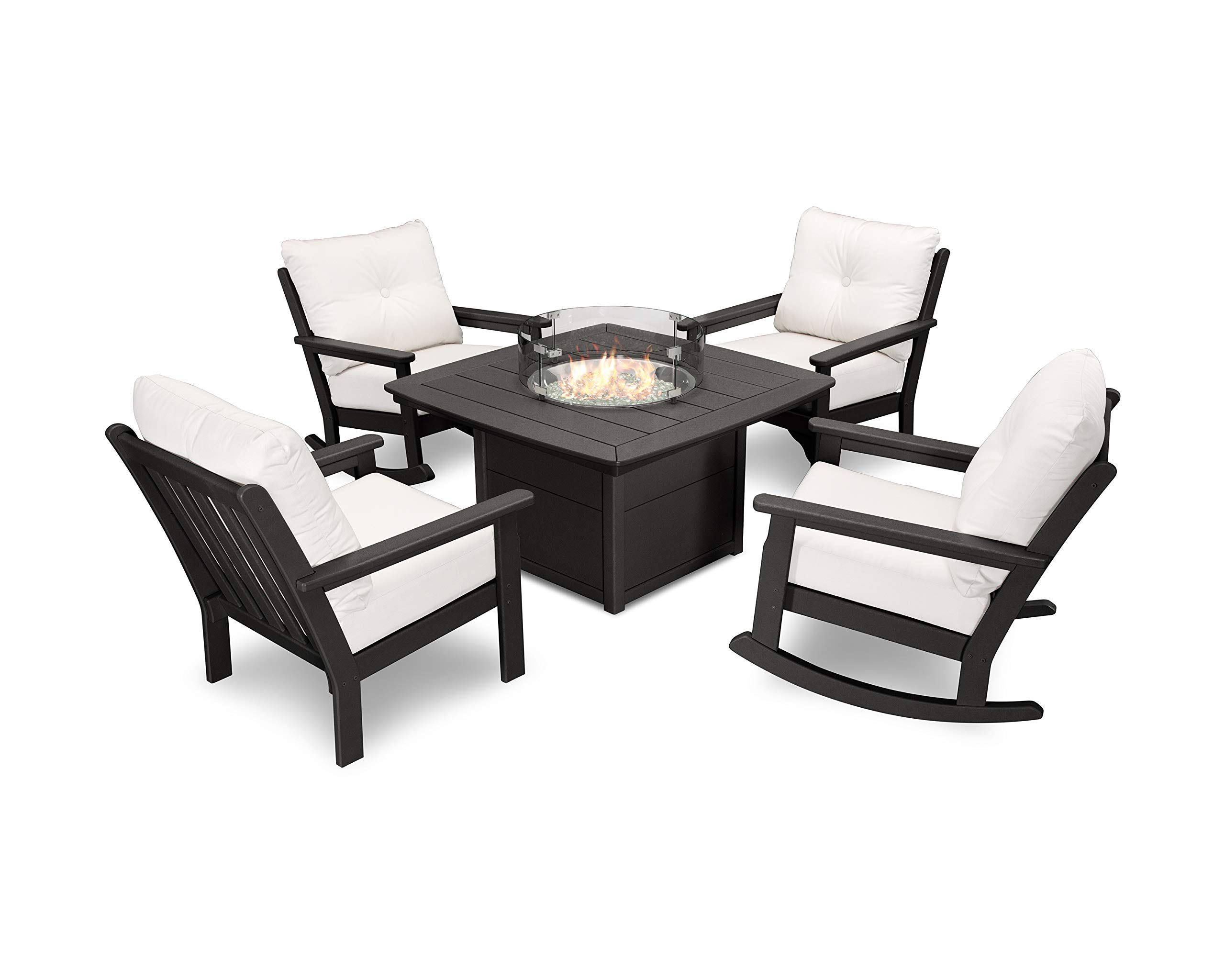 POLYWOOD Vineyard 5-Piece Deep Seating Rocking Chair Conversation Set with Fire Pit Table (Black/Bird's Eye)
