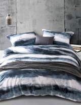 MILDLY Bedding Duvet Cover Sets King Size,100% Egyptian Cotton Duvet Cover with Zipper Closure and 2 Pillow Shams, Navy Blue and White Watercolor Pattern Printed, Angel