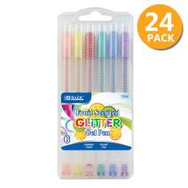 BAZIC 6 Fruit Scented Glitter Color Gel Pen, Water Based Non-Toxic Safe, Great for Gift Card Poster Christmas w/Case, 24-Pack