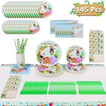 Jungle Safari Theme Party Supplies - for 16 Guests Woodland Birthday Decoration for Boy or Girl Forest Animal Set Including Plates,Napkins,Cups,Knifes,Forks,Spoons,Invitation Cards,Table Cover 145 PCS