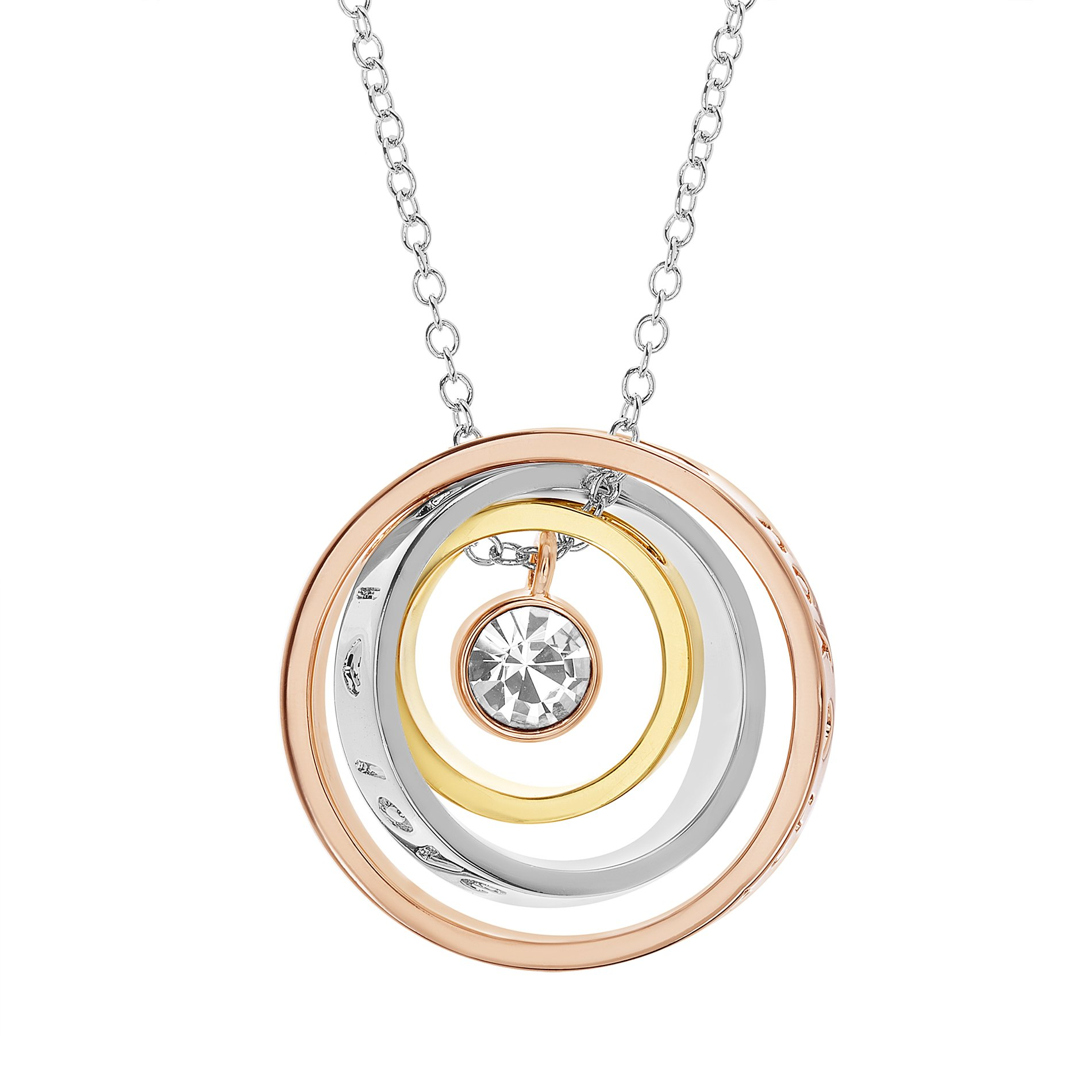 Devin Rose Orbit Multi Circle Engraved Love You Mom 3D Pendant Necklace on 18 inch Necklace for Women made with Swarovski Crystals in Tri-Color Plated Brass