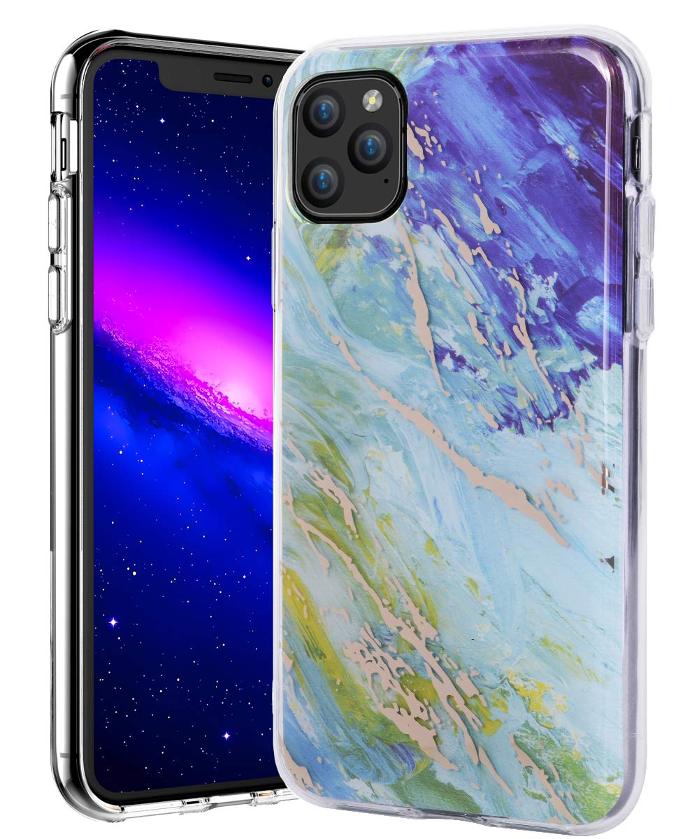 SPEVERT iPhone 11 Pro Max Case 6.5 inches, Marble Pattern Hybrid Hard Back Soft TPU Raised Edge Ultra-Thin Shock Absorption Slim Case Compatible for iPhone 11 Pro Max 6.5 inch 2019 - Blue Green