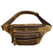 Leather Fanny Pack Waist Pack Bag,Jack&Chris Fashion Hip Bum Belt Pack Bag for Men and Women Brown, JC5606-8