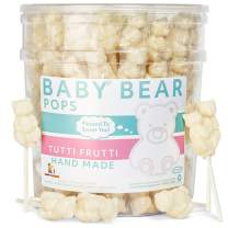 White Bear Pops Lollipop Suckers: Individually Wrapped Baby Bear Candy on a Stick by Espeez - Tutti Frutti Bears (24 Count)