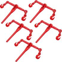 VEVOR Chain Binder 3/8in-1/2in, Ratchet Load Binder 9215lbs Capacity, Ratchet Lever Binder w/ G70 Hooks, Adjustable Length, Ratchet Chain Binder for Tie Down, Hauling, Towing, 5 Packs in Red