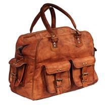 Hell Blues Classic Duffle Weekend Sports Vintage Look Genuine Leather Bag (Airplane Underseat) Brown