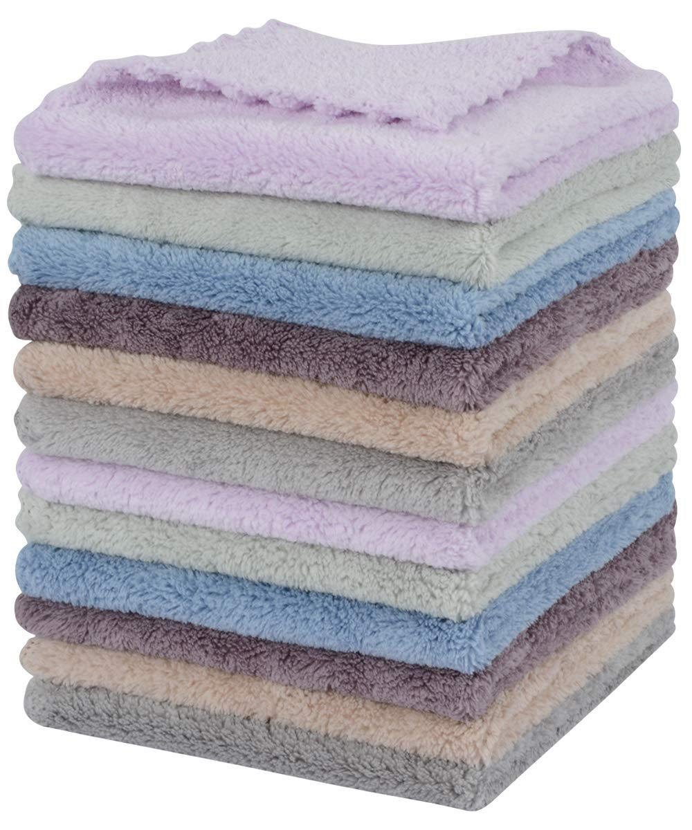 SUNLAND Microfiber Face Cloth Makeup Remover Cloth Reusable Facial Cleansing Towel Ultra Soft Face Washcloth 11inchx 11inch