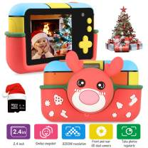 Kids Camera - 32MP Kid Digital Camera Gifts for Age 3-10 Years Old Boys Girls, 1080P Video Camcorder with 2.4 inch Large LCD Screen, USB Rechargeable Selfie Camera with 32GB SD Card