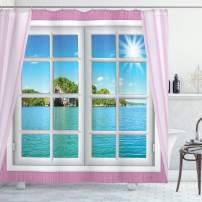 """Ambesonne Ocean Shower Curtain, Ocean View from The Window on Island in Sunny Summer Day Peaceful Relaxation Resting, Cloth Fabric Bathroom Decor Set with Hooks, 75"""" Long, Pink Blue"""