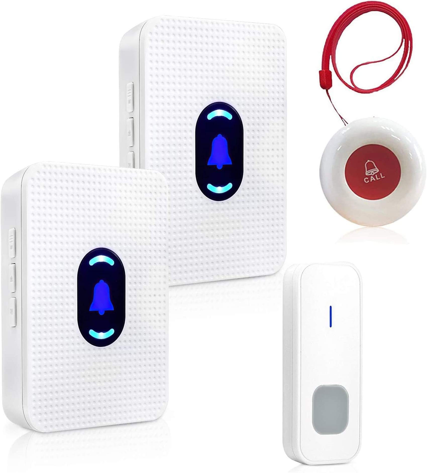 Daytech Caregiver Pager Elderly Emergency Call Button Help Pacnic Button Calling System for Home with 2 Receivers & 2 Waterproof Transmitters & 1 Doorbell