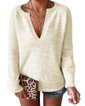 Kinlonsair Women's Casual Deep V-Neck Bell Sleeve Solid Pullover Sweater Knitted Tops