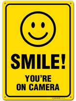 """My Sign Center Smile You're on Camera Sign, Area Under Video Surveillance Sign Warning for CCTV Monitoring System, Outdoor Rust-Free Metal, 10"""" X 14"""", A82-319AL"""