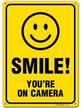 "My Sign Center Smile You're on Camera Sign, Area Under Video Surveillance Sign Warning for CCTV Monitoring System, Outdoor Rust-Free Metal, 10"" X 14"", A82-319AL"