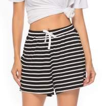 Vlazom Women's Pajama Short Bottoms Cotton Sleeping Striped Shorts for Sleep Gym Running