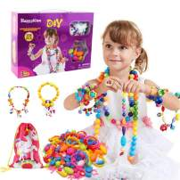 WISHTIME Rubber Character Charms Pop Beads 208 Pieces DIY Snap Pop Beads with 8pcs Unicorn Character Charms Jewelry Kit for Necklace Ring Bracelet Art Crafts Girls Toys for Kids Age 3+