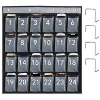 ABCKEY Durable Nylon Numbered Pocket Chart for Cell Phone,Pocket Chart Classroom Organizer for Cell Phones Calculator Holders 24Pockets