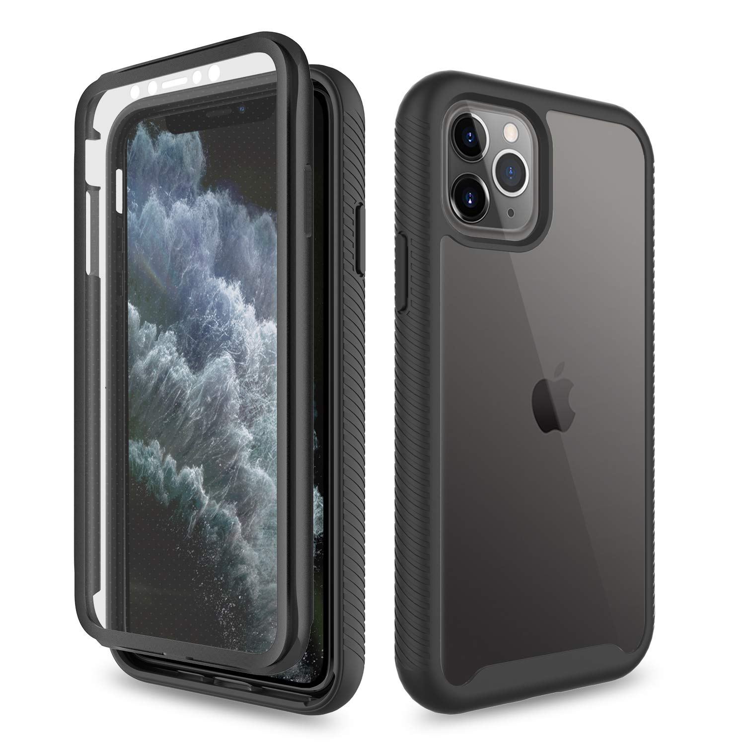 Yunerz Compatible iPhone 11 Pro Max Case, iPhone 11 Pro Max Case with Built-in Screen Protector Shockproof Heavy Duty Three Layer Full-Body Protection Case for iPhone 11 Pro Max 2019 6.5inch(Black)