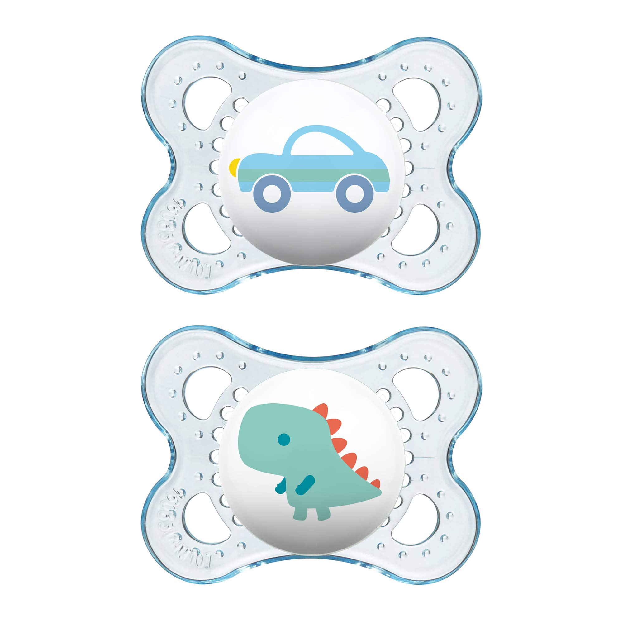 MAM Clear Collection Pacifiers (2 pack, 1 Sterilizing Pacifier Case), MAM Pacifier 0-6 Months, Baby Boy Pacifier, Best Pacifier for Breastfed Babies