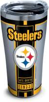 Tervis NFL Pittsburgh Steelers Blitz Stainless Steel Insulated Tumbler with Clear and Black Hammer Lid, 20 oz, Silver