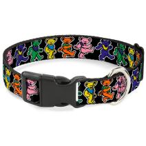 "Buckle-Down Plastic Clip Collar - Dancing Bears Black/Multi Color - 1.5"" Wide - Fits 16-23"" Neck - Medium"