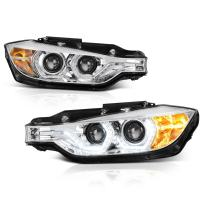 VIPMOTOZ Truly Bright Series LED Halo Ring Chrome Housing Quad Projector Headlight Headlamp Assembly For 2012-2015 BMW 3-Series F30 Pre-LCI Sedan Halogen Model, Driver & Passenger Side