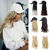 XBwig Hats With Hair Attached For Women Synthetic Wig Hat Long Wavy Adjustable Wave Hairpiece White Baseball Cap With Hair Extensions With Magic Paste Ash Blonde