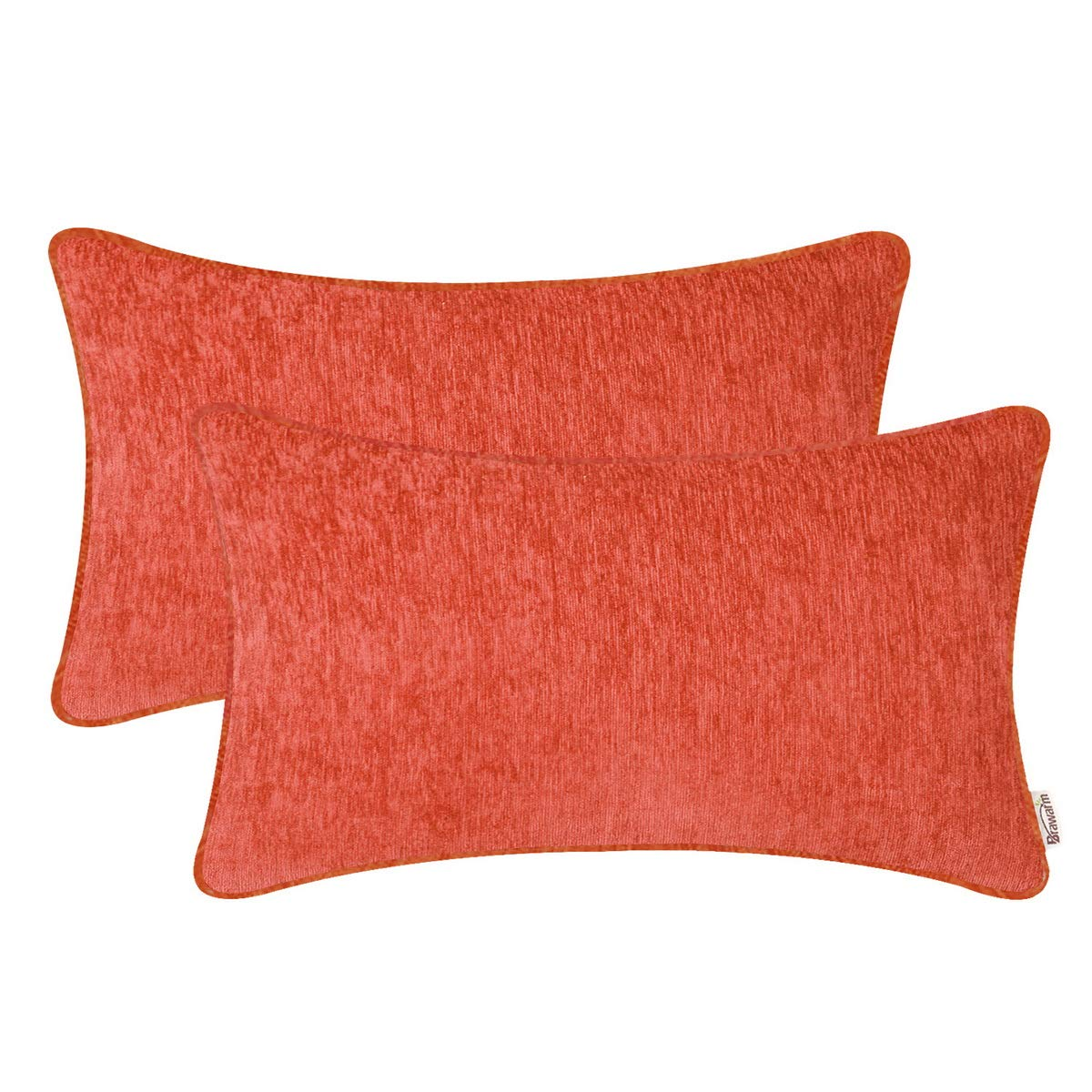 BRAWARM Pack of 2 Cozy Bolster Pillow Covers Cases for Sofa Couch Home Decoration Solid Dyed Striped Soft Chenille with Piping 12 X 20 Inches Living Coral