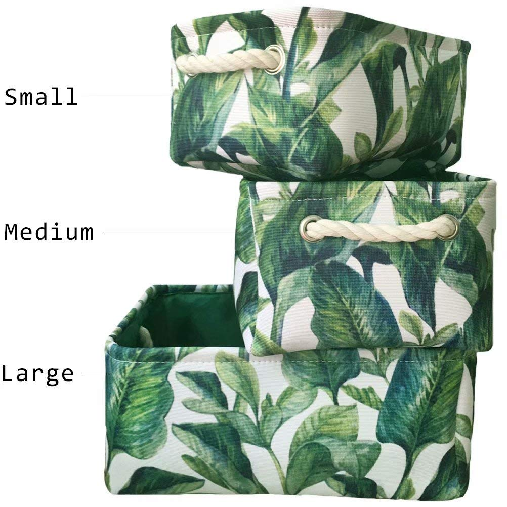 Leadtimes Rectangular Canvas Storage Bin 3 Size Collapsible Leaf Storage Box with Handles for Clothes Nursery Kids Room Toys Organizer, Set of 1 (Green Leaves, Small)