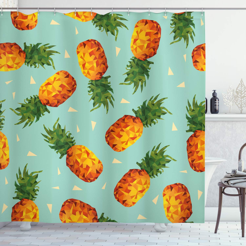 "Ambesonne Retro Shower Curtain, Poly Style Pineapples Motif Vintage Beach Summer Modern Illustration, Cloth Fabric Bathroom Decor Set with Hooks, 75"" Long, Seafoam Orange"
