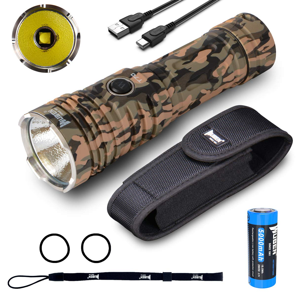 WUBEN T70 4200 High Lumens Flashlight CREE LED Waterproof Type-C Rechargeable Flashlights Torch with 26650 Li-ion Battery Included for Outdoors Camping Hiking Climbing (Camo)