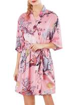 HAPCOPE Women's Floral Print Short Silk Satin Kimono Robes Sleepwear Dressing Gown
