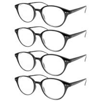 Vista Vision Reading Glasses for Men and Women- Best 4 Pack Lightweight Classic Round Design - Spring Hinge Ultra Clear