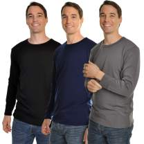 Swan Men's Fleece-Lined Crew Neck Long Sleeve Thermal Tops