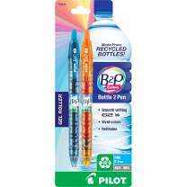 PILOT B2P Colors - Bottle to Pen Refillable & Retractable Rolling Ball Gel Pen Made From Recycled Bottles, Fine Point, Assorted Color G2 Inks, 2-Pack (36622)
