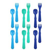 RE-PLAY Made in The USA 12pk Fork and Spoon Utensil Set for Easy Baby, Toddler, and Child Feeding in Sky Blue, Aqua and Navy Blue   Made from Eco Friendly Heavyweight Recycled Milk Jugs   (True Blue)