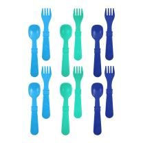 RE-PLAY Made in The USA 12pk Fork and Spoon Utensil Set for Easy Baby, Toddler, and Child Feeding in Sky Blue, Aqua and Navy Blue | Made from Eco Friendly Heavyweight Recycled Milk Jugs | (True Blue)