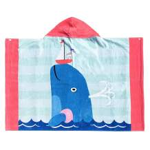 Copinkco Kids Hooded Beach Towel, 30 X 50 Inch Large Bath Towel Blanket for Travel, Swimming, Camping, and Picnic (Cute Whale)